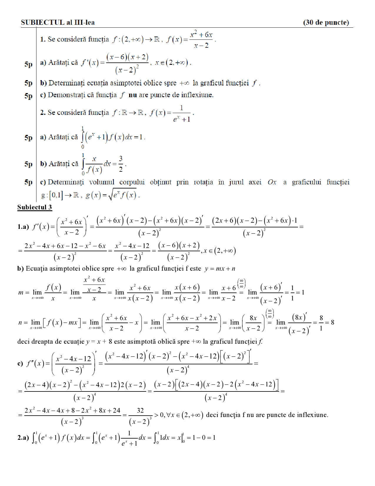 Rezolvarea modelului oficial de subiecte pentru examenul de bacalaureat la matematica M_tehnologic 2018